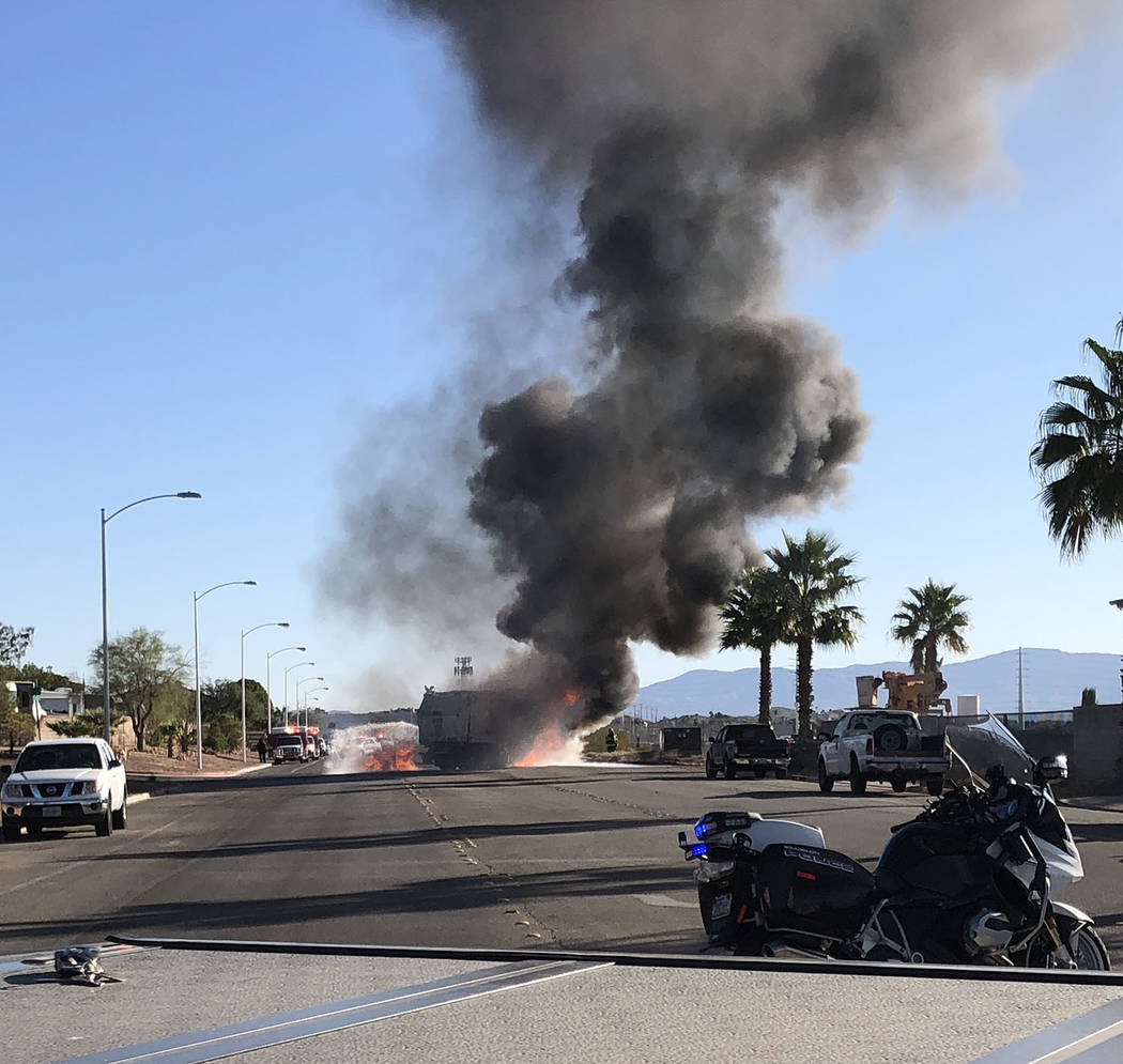 (Boulder City Police Department) A Boulder City Disposal trash truck caught on fire around 8:30 ...