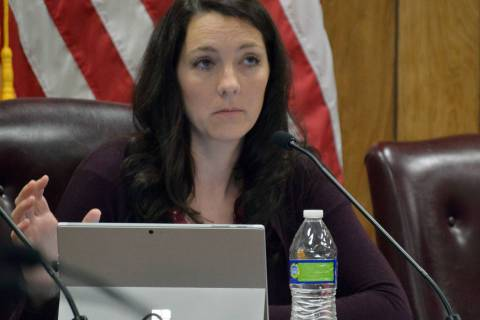 (Celia Shortt Goodyear/Boulder City Review) Councilwoman Tracy Folda discusses an item during t ...