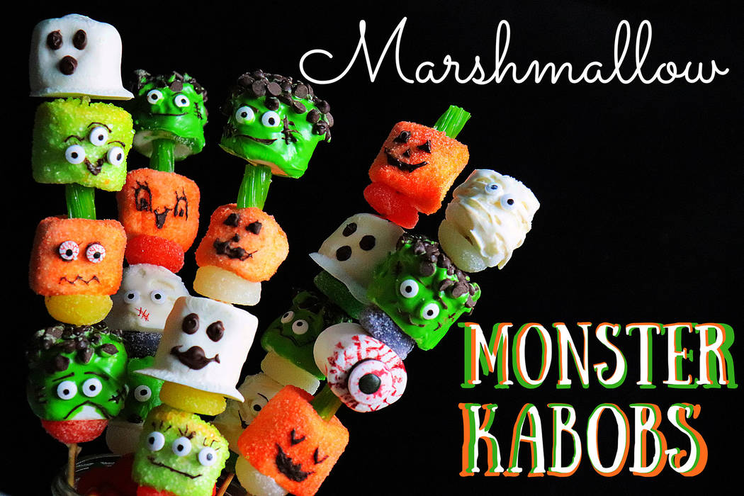 (Patti Diamond) Marshmallows coated in sugar or candy melts and decorated to look like monsters ...