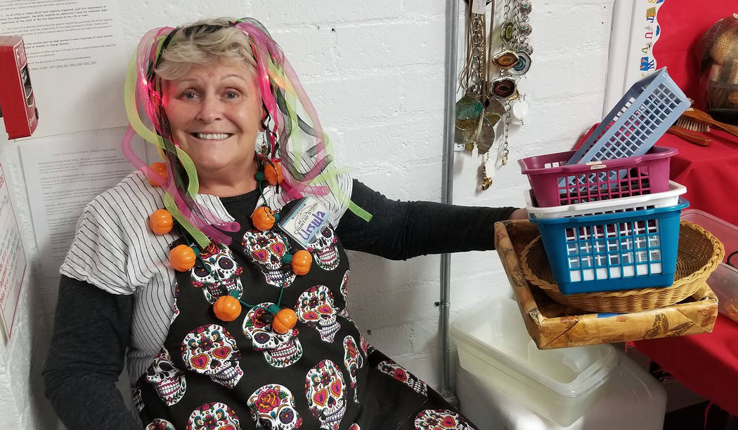 (Celia Shortt Goodyear/Boulder City Review) Volunteer Ursula Stelzner mans the baskets in the j ...