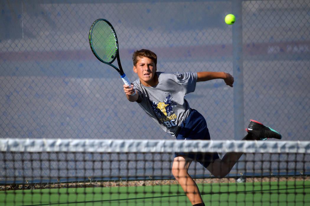 (Celia Shortt Goodyear/Boulder City Review) Boulder City High School freshman Ben Schafler retu ...