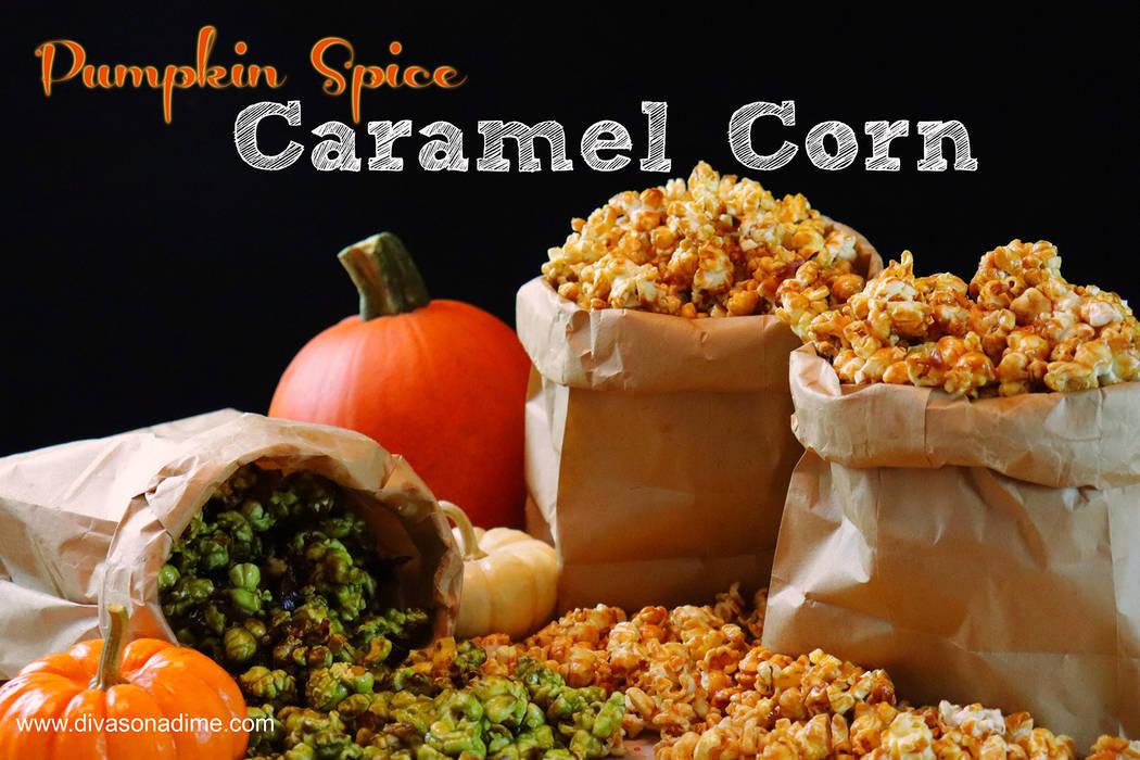 (Patti Diamond) Pumpkin Spice Caramel Corn is an easy-to-make treat for fall. Adding green food ...