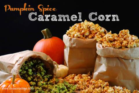 (Patti Diamond) Pumpkin Spice Caramel Corn is an easy-to-make treat for fall. Adding green food ...