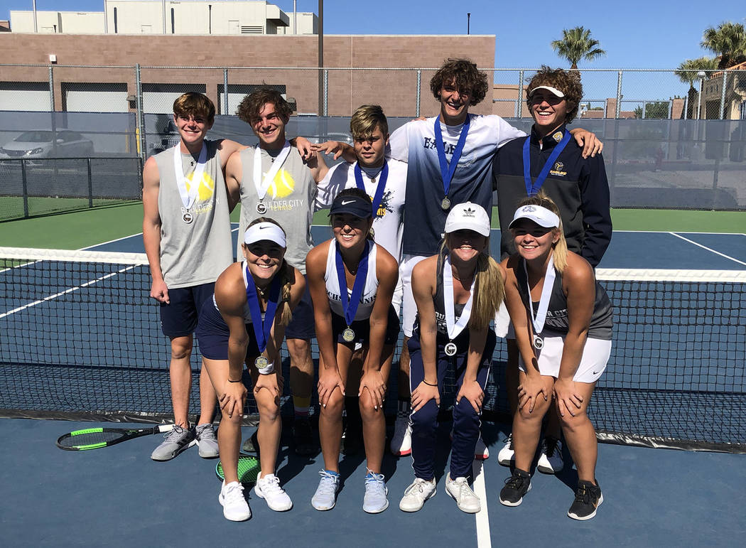 Rachelle Huxford Members of the Boulder City High School boys and girls tennis teams celebrate ...