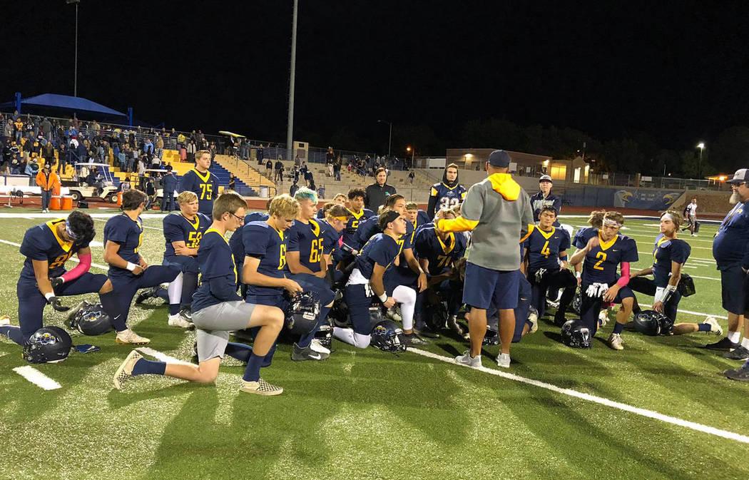 Boulder City High School The Boulder City High School football team celebrates its 21-7 win aga ...