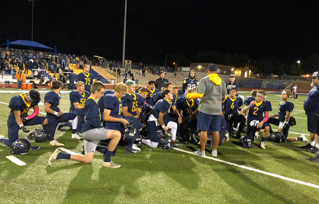 Boulder City High School The Boulder City High School football team celebrates its 21-7 win aga ...