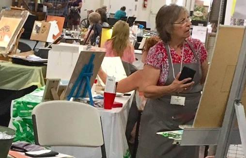 (Boulder City Art Guild) Jan Bennett demonstrated her painting skills during Boulder City Art G ...