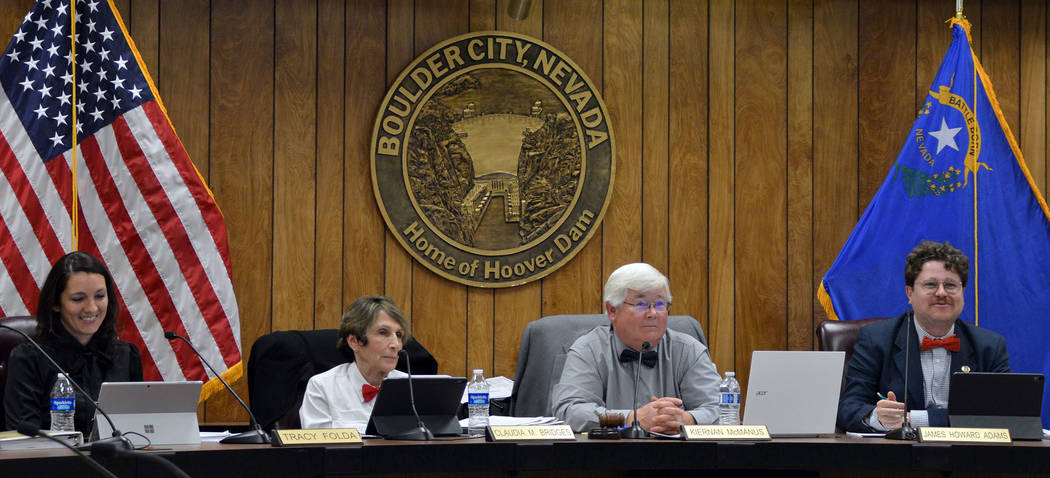 Celia Shortt Goodyear/Boulder City Review City Council members, from left, Tracy Folda, Claudia ...