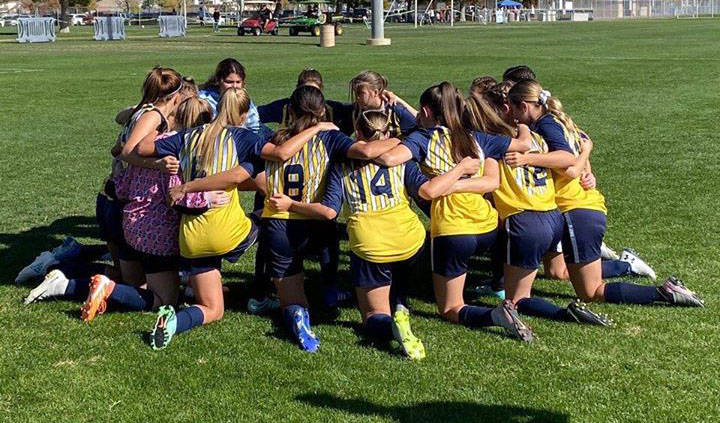 Boulder City High School The Boulder City High School girls soccer team gets ready to play in t ...