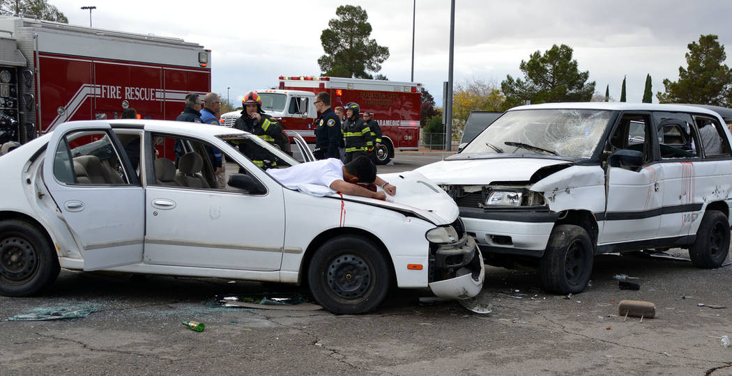 Celia Shortt Goodyear/Boulder City Review Every 15 Minutes, a re-enactment of a car accident an ...