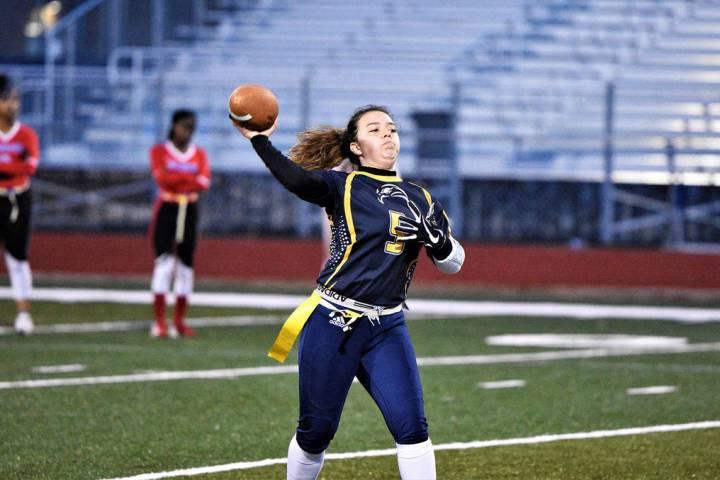 (Robert Vendettoli/Boulder City Review) Boulder City High School senior quarterback Makaela Per ...