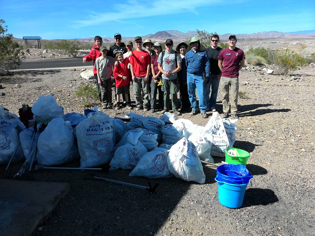 (Scott Meyer) Members of Boy Scout Troop 7 of Boulder City participated in a clean-up event at ...
