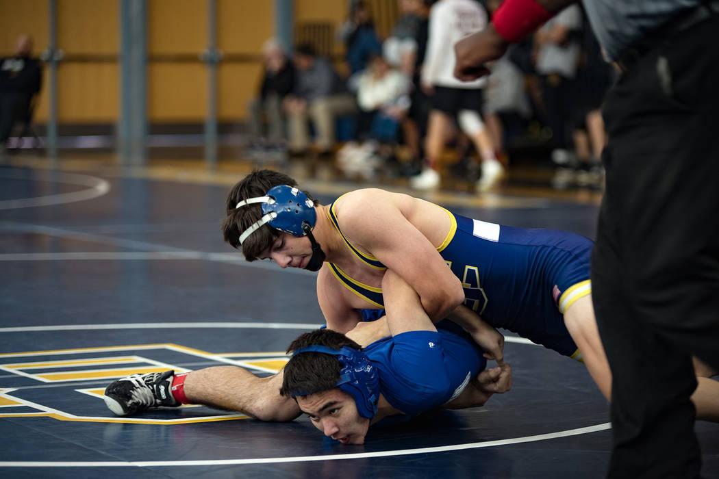 (Rich Viera) Boulder City High School senior Curtis Brown finished first in the 145-pound weigh ...
