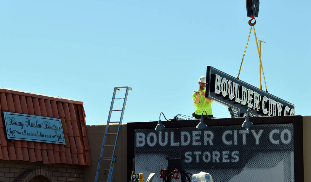 (Celia Shortt Goodyear/Boulder City Review) A new sign for the Boulder City Co. Store, 525 Aven ...
