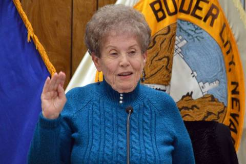 (Celia Shortt Goodyear/Boulder City Review) Councilwoman Judy Hoskins takes her oath of office ...