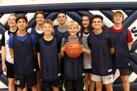 (Jim Konst) Eighth-graders from Garrett Middle School who are on the Bobcats basketball teams a ...