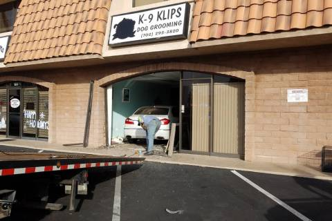 (Boulder City) A woman accidentally stepped on the gas pedal instead of the brake driving into ...