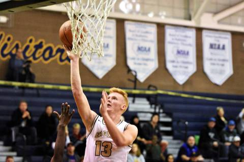 (Robert Vendettoli/Boulder City Review) Boulder City High School junior forward Matt Morton, se ...
