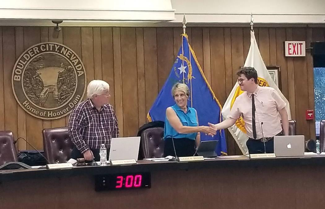 Celia Shortt Goodyear/Boulder City Review Mayor Kiernan McManus, from left, and City Council me ...