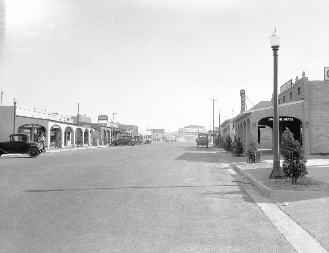 Main Street, now Nevada Way, as seen on Aug. 24, 1932, was the hub of activity in Boulder City. ...