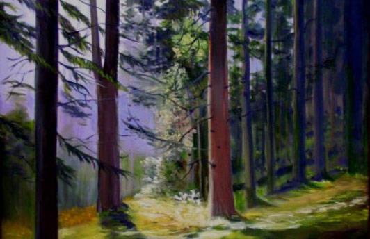 "(Boulder City Art Guild) Landscapes, such as ""Forest,"" by artist Bernie Fiebranz ..."