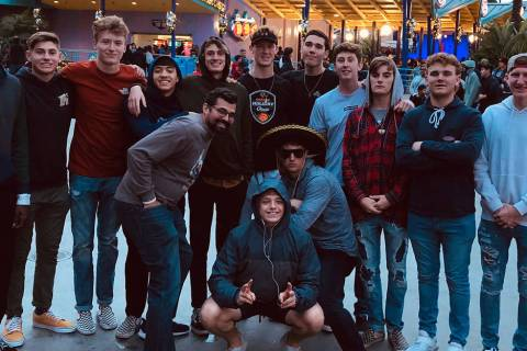 (John Ballistere) Members of the boys varsity basketball team from Boulder City High School too ...