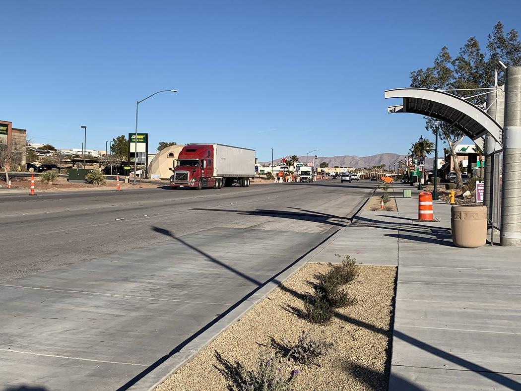 (Hali Bernstein Saylor/Boulder City Review) Work on the complete street project on Boulder City ...
