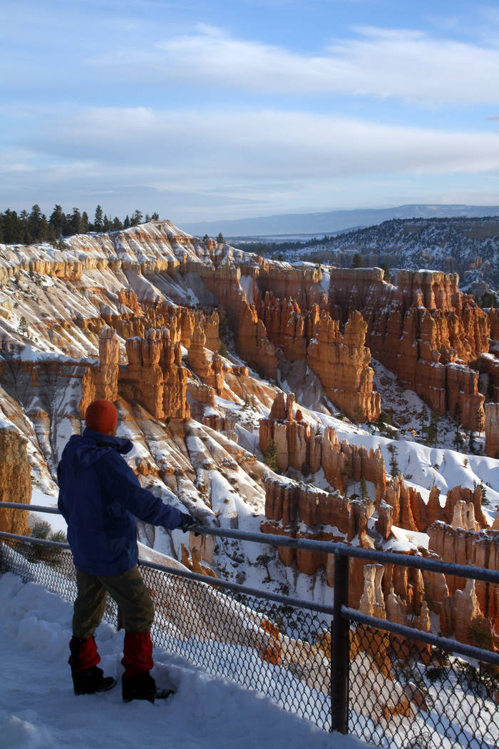 (Deborah Wall) A visitor takes in the views of the hoodoo-filled amphitheater at Bryce Canyon N ...