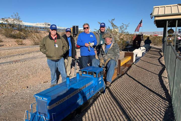 (Hali Bernstein Saylor/Boulder City Review) Volunteers with Friends of Nevada Southern Railway, ...