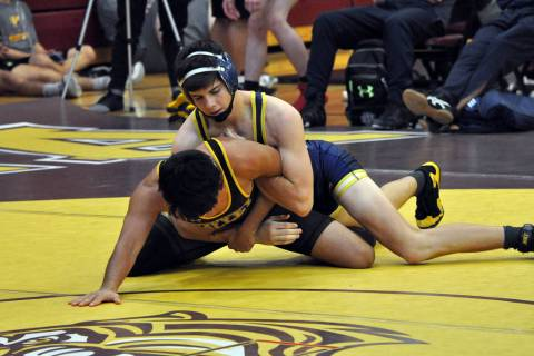 (Bryan Moore) Curtis Brown, a senior at Boulder City High School, went 5-0 in the 138-pound div ...