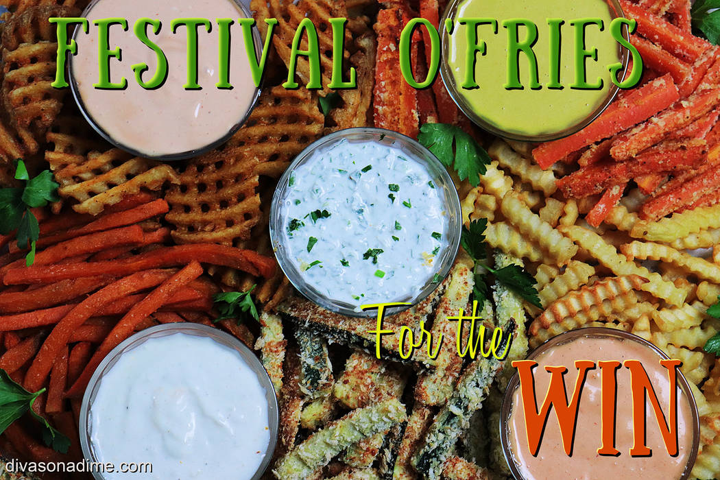 (Patti Diamond) Assorted potato and vegetable fries, along with a variety of dipping sauces, is ...