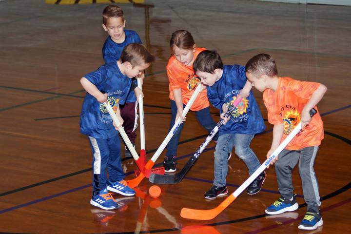 (Roger Hall) The Mighty Ducks face off against The Slap Shots in Boulder City Parks and Recreat ...