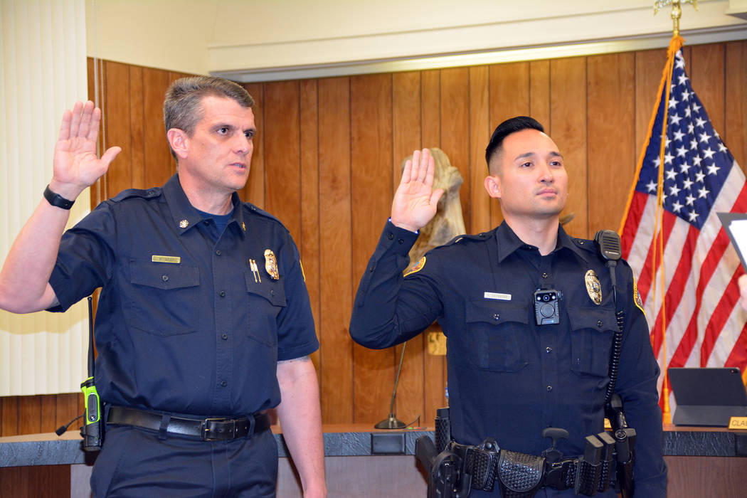 Celia Shortt Goodyear/Boulder City Review New Fire Chief William Gray, left, and Marshal Joel G ...