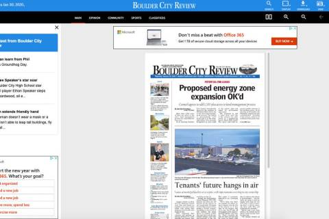 (Boulder City Review) An E-edition of the Boulder City Review allows readers to see an exact re ...