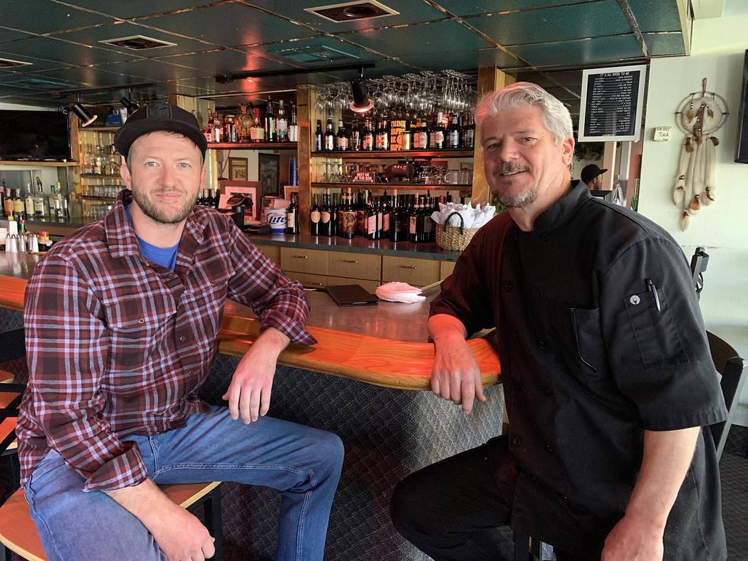 (Hali Bernstein Saylor/Boulder City Review) Grant Turner, left, meets with Evan Lathouris of Ev ...