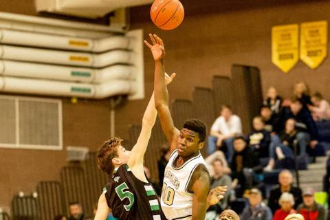 (Jamie Clark/Boulder City Review) Boulder City High School senior Jacob Sanford scored 8 points ...