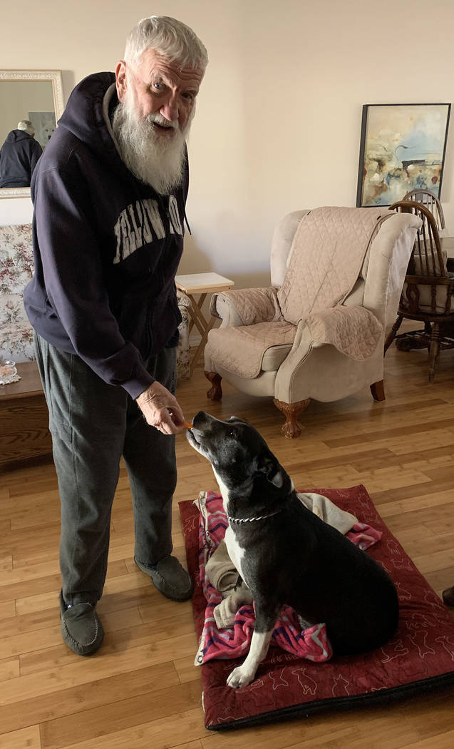 (Hali Bernstein Saylor/Boulder City Review) Don Carlyle gives his dog, Molly, a carrot as a tre ...