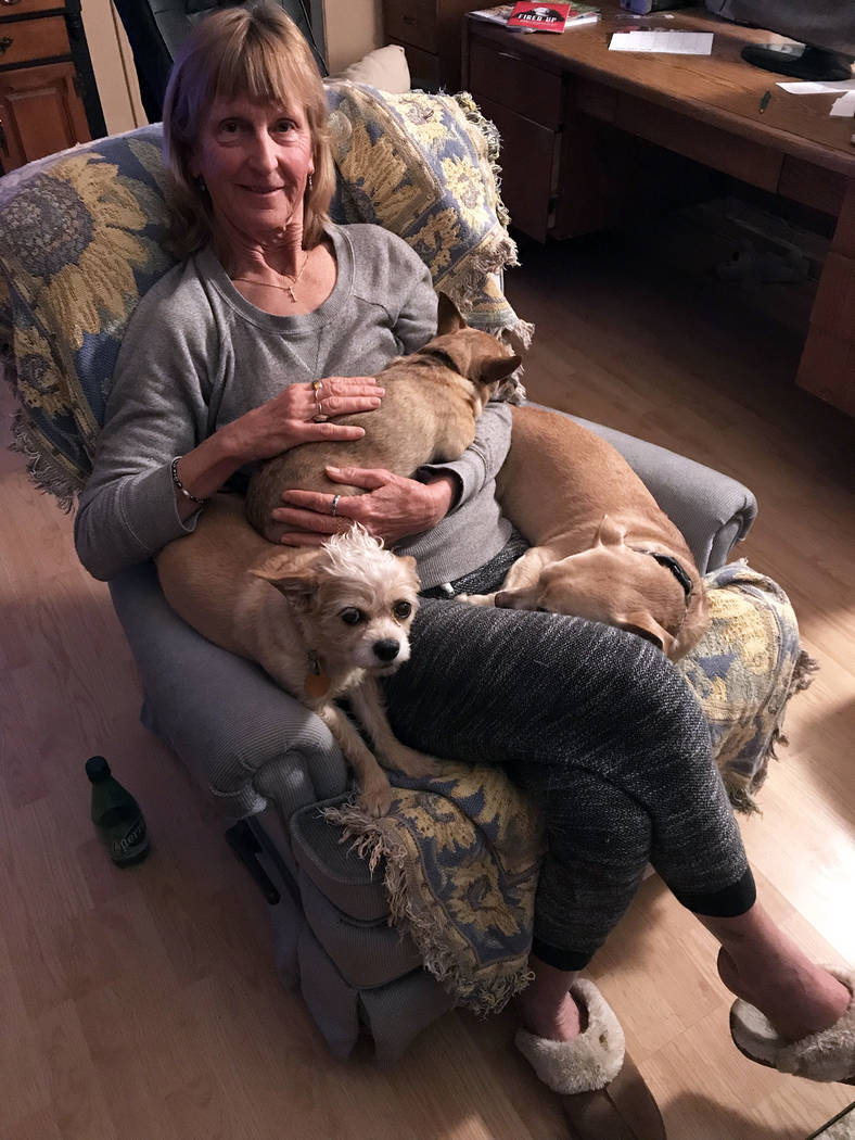 (Sara Carroll) Sara Carroll relaxes at home with a few of the dogs she has adopted from Boulder ...