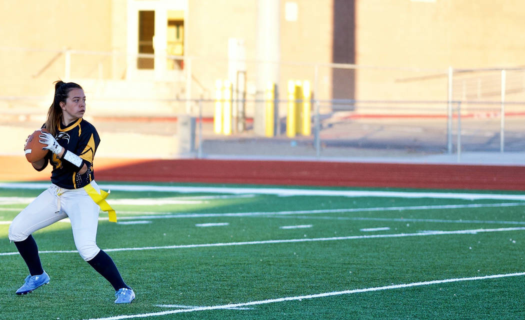 (Jamie Jane/Boulder City Review) Senior Makeala Perkins, seen on the field Feb. 7, threw 15 pas ...