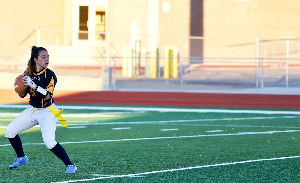 (Jamie Jane/Boulder City Review) Senior Makeala Perkins, seen on the field Feb. 7, threw 15 pas ...