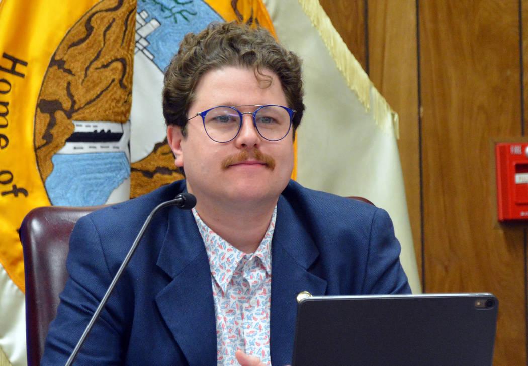 Celia Shortt Goodyear/Boulder City Review City Councilman James Howard Adams listens to a publi ...