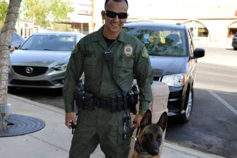 Boulder City Police Officer Armando Salazar's partner, Lloyd, will soon be received a bulletpro ...