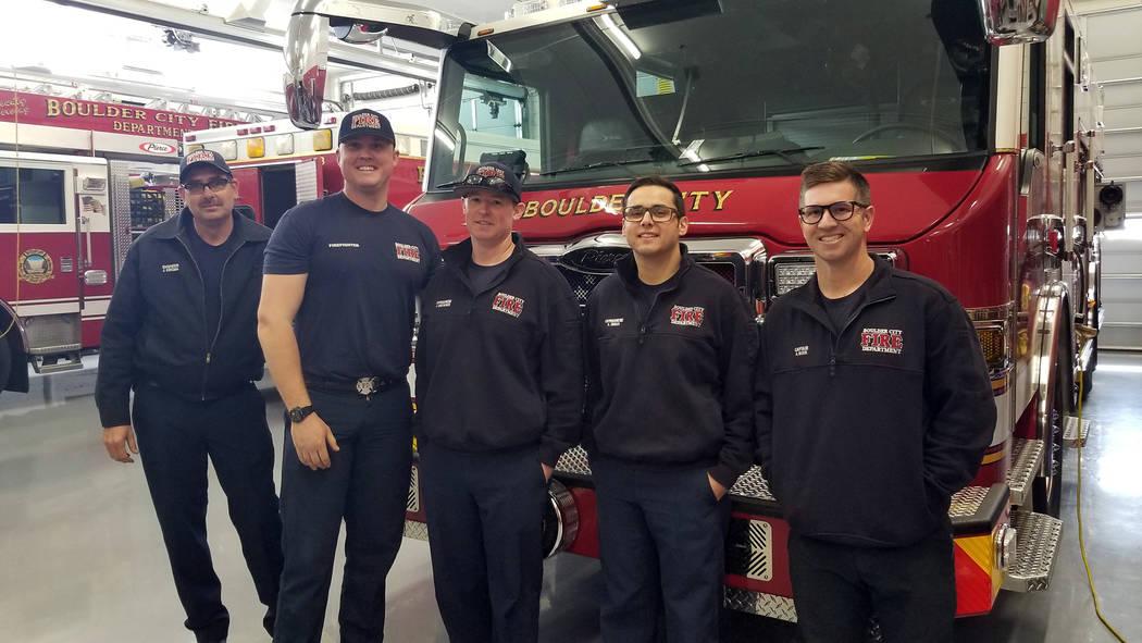 Celia Shortt Goodyear/Boulder City Review Boulder City Fire Capt. Aaron Bleck, right, and his c ...