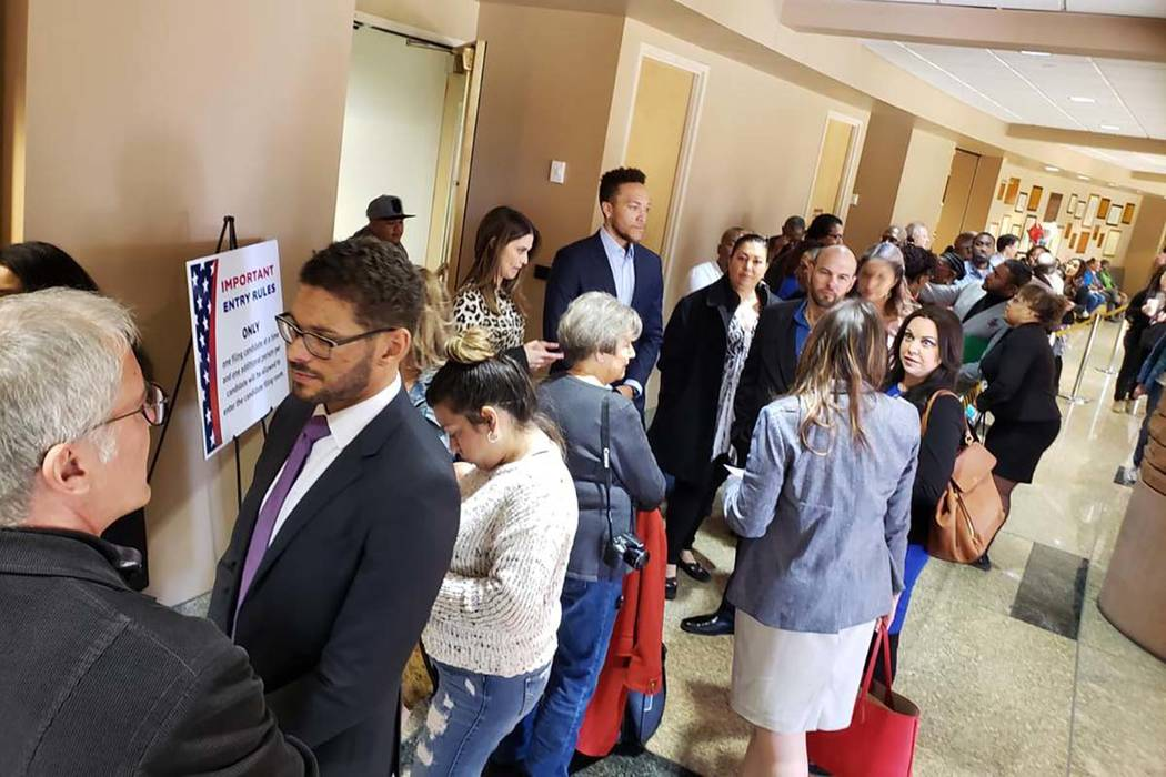 Shea Johnson/Las Vegas Review-Journal Candidates flooded the Clark County Government Center on ...