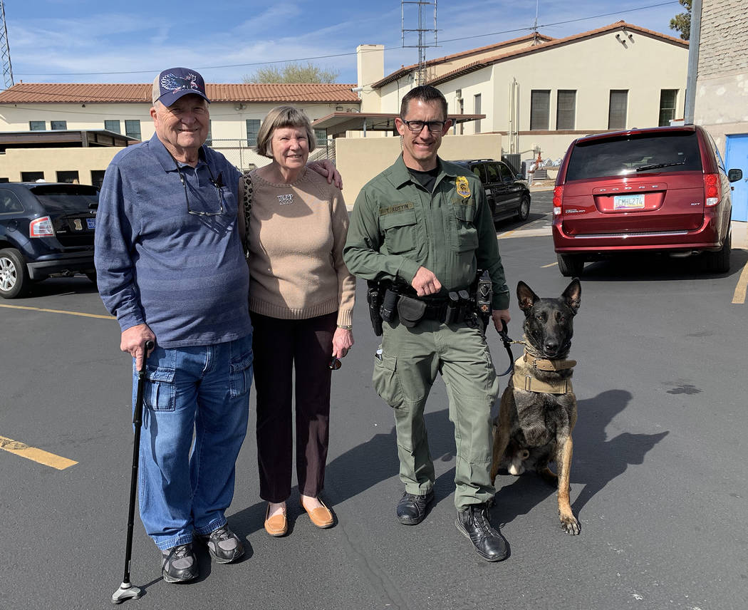 (Hali Bernstein Saylor/Boulder City Review) Todd Austin, right, a K-9 officer with the National ...