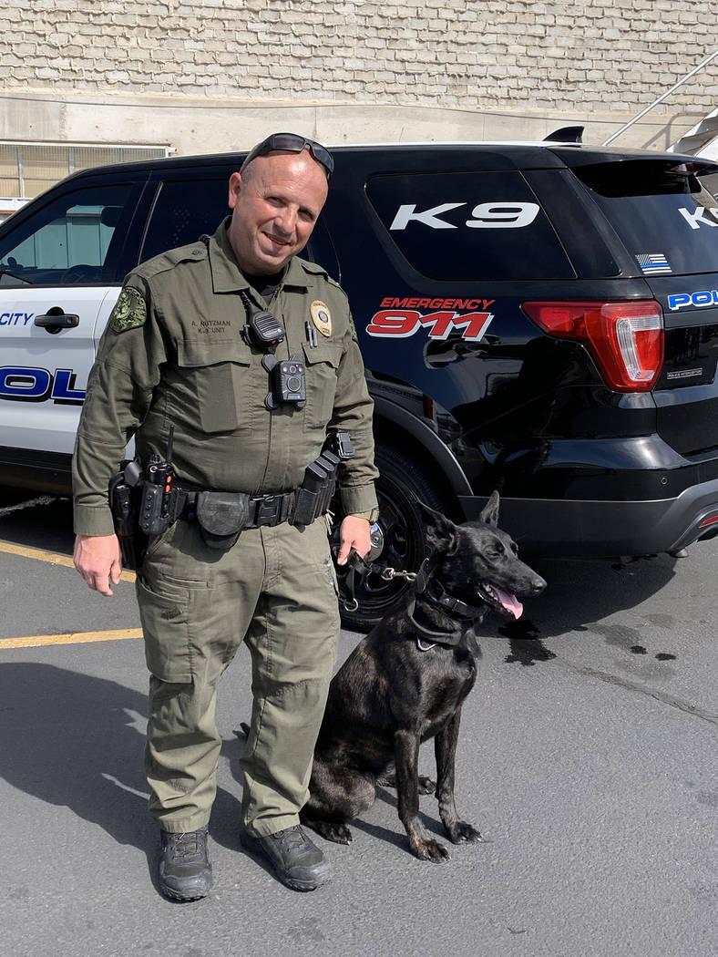 (Hali Bernstein Saylor/Boulder City Review) Boulder City Police officer Alan Nutzman brought hi ...