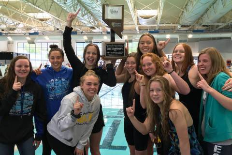 Many members of last year's championship girls swim team from Boulder City High School are retu ...