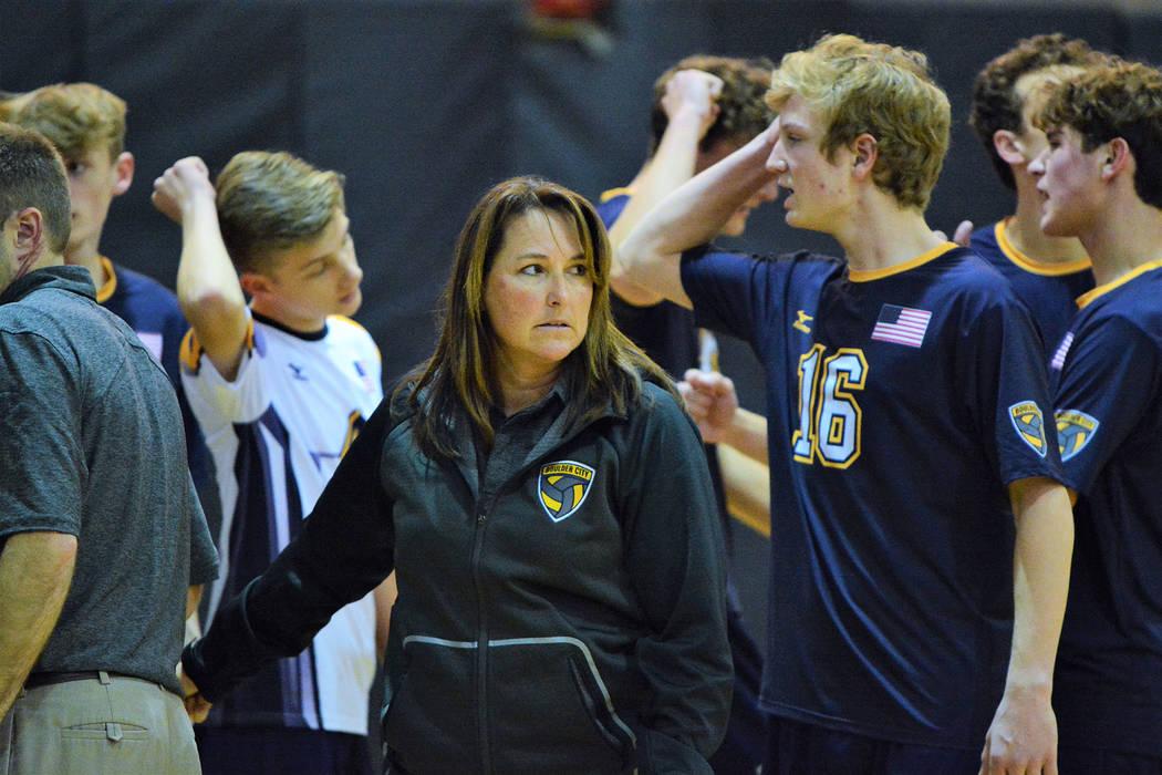 Boulder City High School head boys volleyball coach Rachelle Huxford, who was named the 3A coac ...