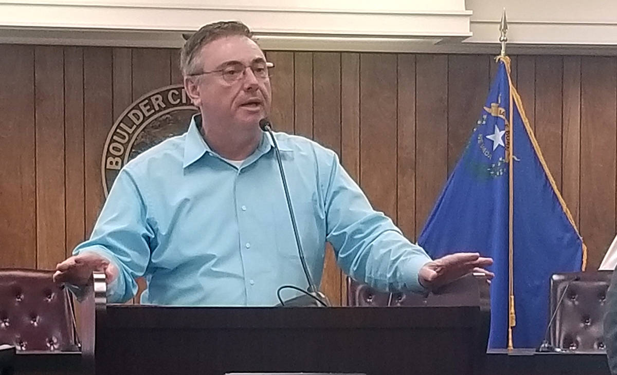 Celia Shortt Goodyear/Boulder City Review City Manager Al Noyola addresses attendees at a March ...