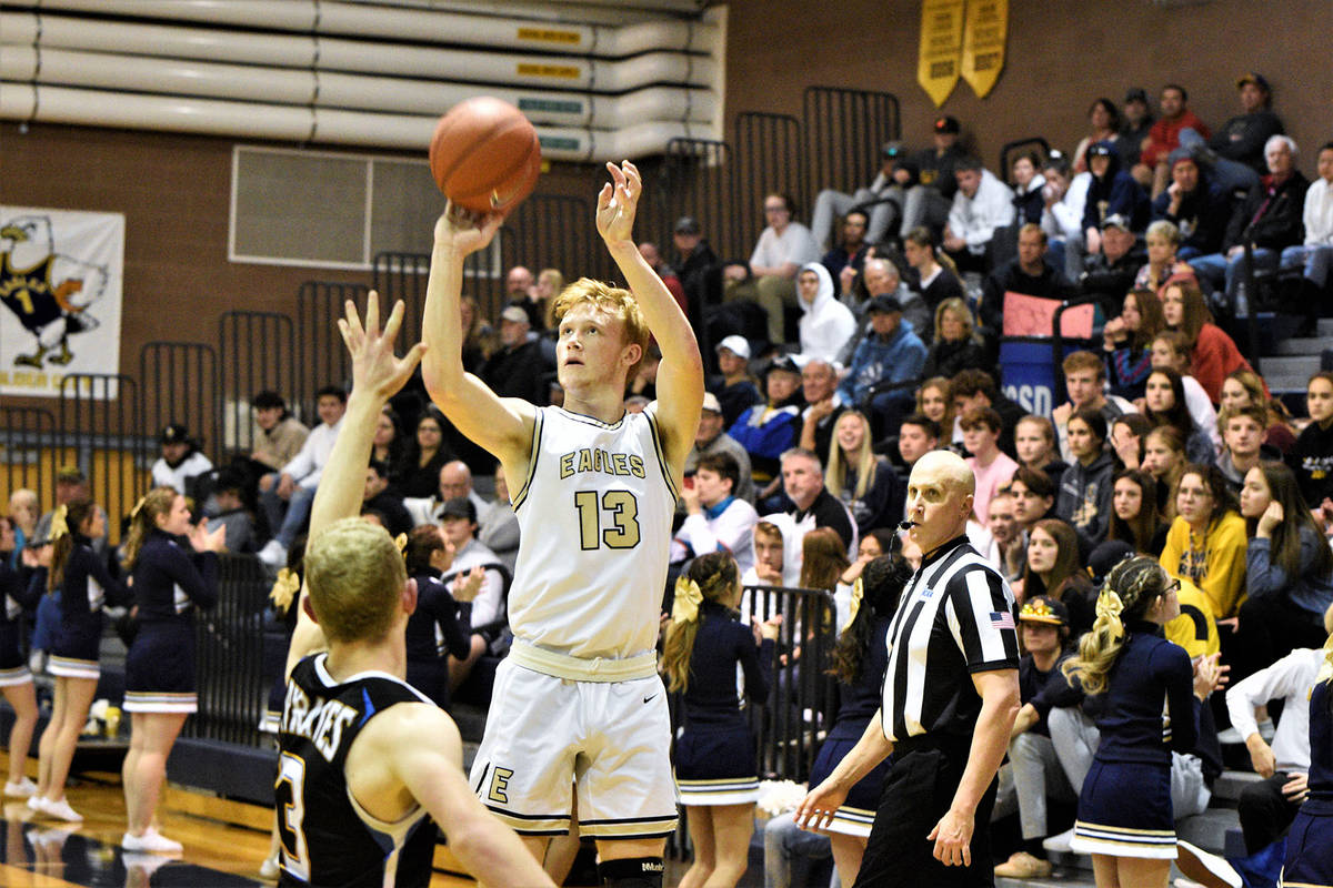 Boulder City High School junior Matt Morton, seen swishing home a basket against Moapa Valley o ...